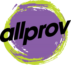 allprov in black letters over a purple circle with a lime green outline.