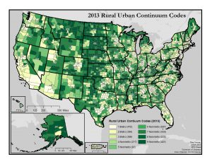 This map of the United States shows counties classified by the nine USDA Rural-Urban Continuum Codes. A text description of this map is included in the webpage content.