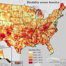 section of a map of the United States showing disability rate in each county