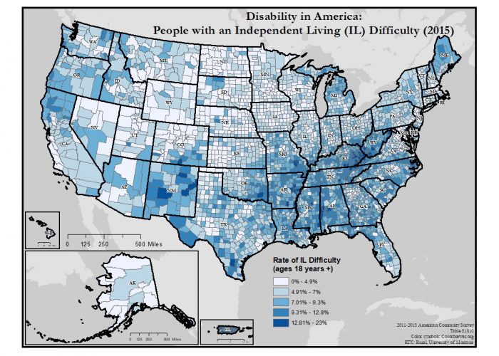 This is a map of the United States which depicts rates of independent living difficulty by county.