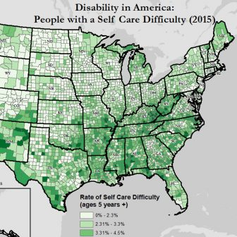 Excerpt of map of rates of self-care difficulty across America