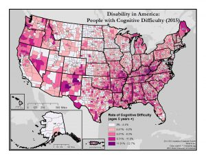 This is a map of the United States which depicts rates of cognitive difficulty by county. A text description of this map is included in the webpage content.