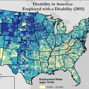 Cropped image of map of the United States. Map title: Disability in America: Employed with a Disability (2015).