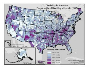 This is a map of the United States which shows disability rates among females by county. A text description of this map is included in the webpage content.