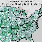portion of a map showing rates of hearing difficulty in every county in the US
