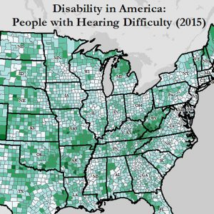 Cropped map of Disability in America: People with Hearing Difficulty (2015). Click on the labled link in the text for more information and a text description of this map.