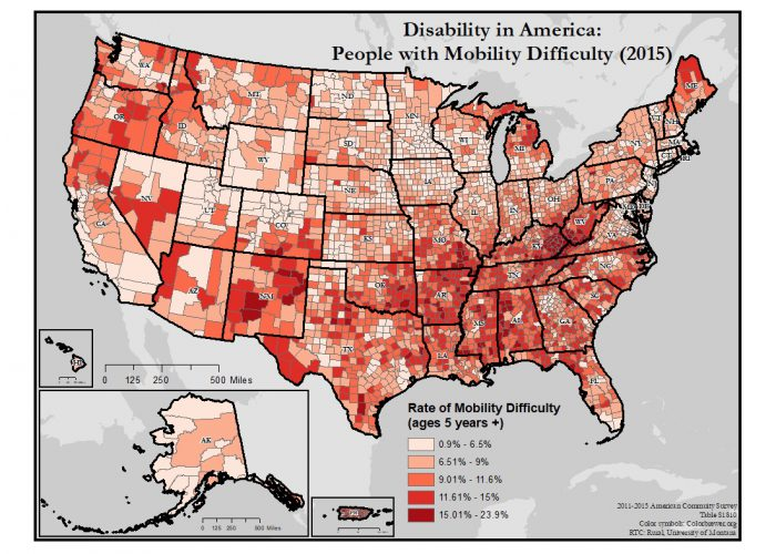 This is a map of the United States which depicts rates of mobility difficulty by county.