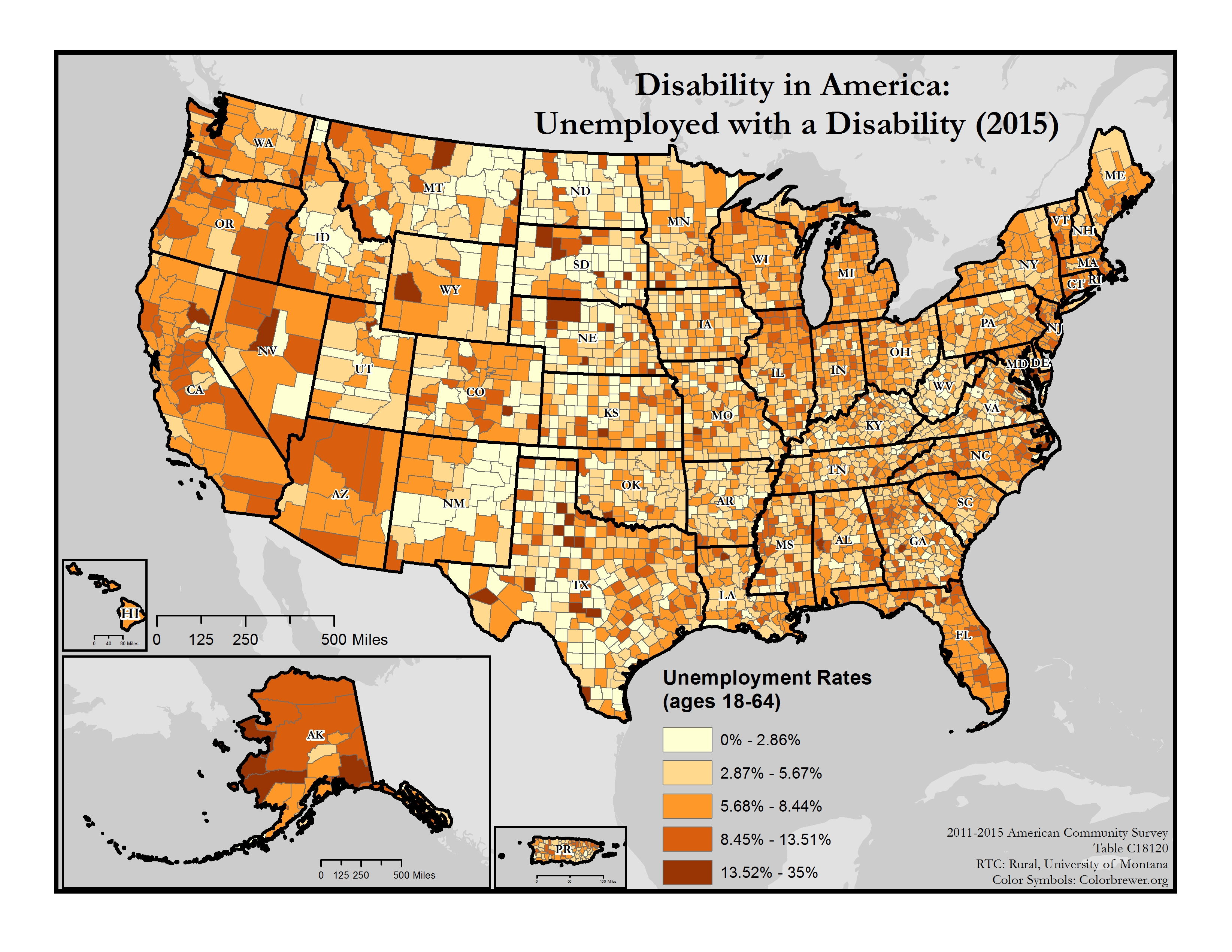 Map Of America 52 States.Maps Of Disability And Employment Rtc Rural