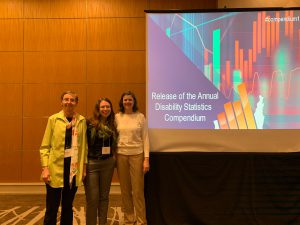 Christiane von Reichert, Lillie Greiman, and Catherine Ipsen at the 2020 Annual Disability Statistics Compendium event in Washington DC.