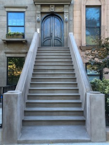 LOng staircase stoop to Brooklyn brownstone