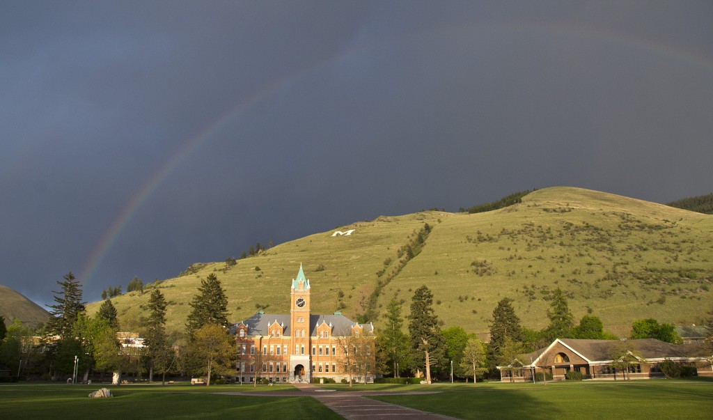 University of Montana Main Hall with rainbow