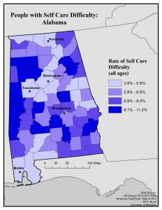 Map of Alabama showing rates of self care difficulty by county. Full text description on webpage.
