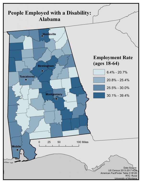Map of Alabama showing employment rate for people with disabilities by county. Full text description on webpage.