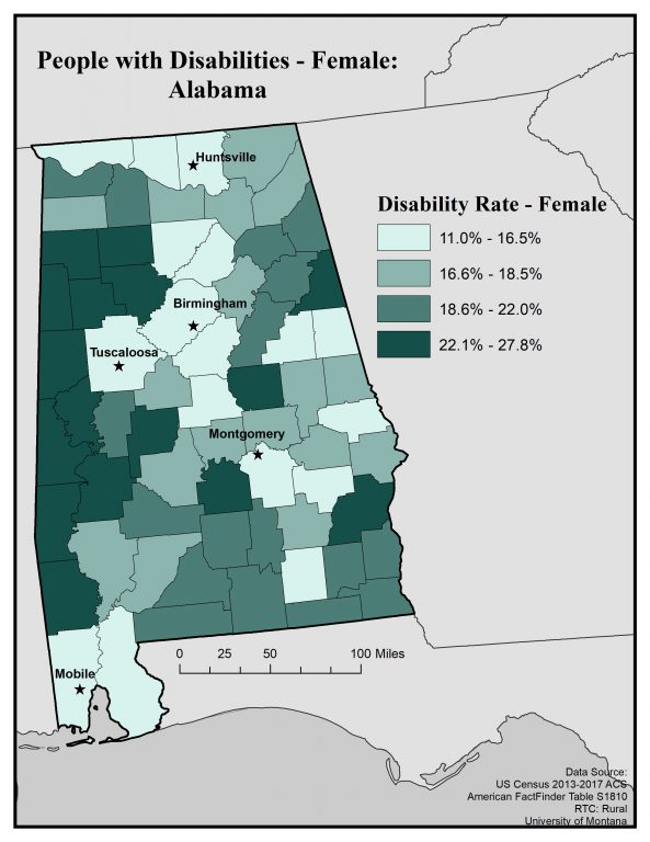 Map of Alabama showing disability rates among females by county. See text on page for full text description.