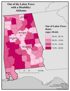Map of Alabama showing rate of people with disabilities out of the labor force by county. Full text description on webpage.