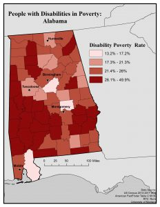 Map showing poverty rates of people with disabilities by county in Alabama. See page for full text description.