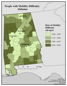 Map of Alabama showing rates of mobility difficulty by county. See page for full text description.