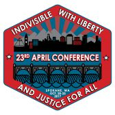 "APRIL 2017 conference logo which reads ""Individible with liberty and justice for all"" 23rd APRIL conference"