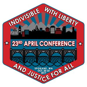 Logo for the 23rd APRIL conference. Indivisible with Liberty and Justice for All.