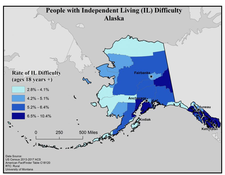 Map of Alaska showing rates of people with IL difficulty by borough. See Alaska State Profile page for full text description.