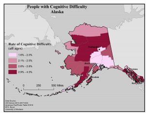 Map of Alaska showing rates of people with cognitive difficulty by borough. See Alaska State Profile page for full text description.