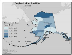 Map of Alaska showing rates of people with a disability who are employed. See Alaska State Profile page for full text description.