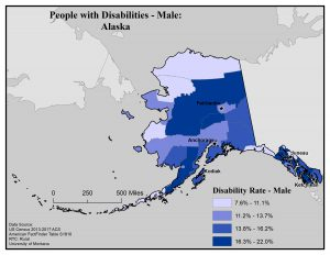 Map of Alaska showing disability rate for males by borough. See Alaska State Profile page for full text description.