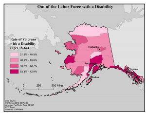 Map of Alaska showing rates of people with disabilities who are out of the labor force by borough. See Alaska State Profile page for full text description.