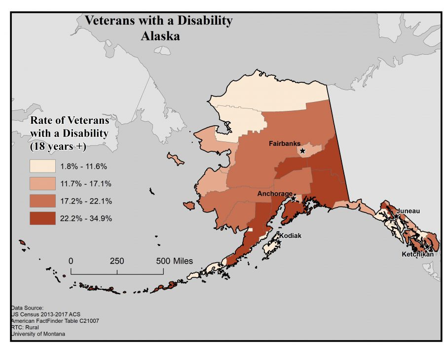 Map of Alaska showing rates of veterans with disability. See Alaska State Profile page for full text description.