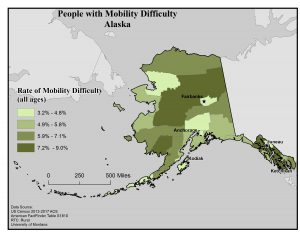 Map of Alaska showing rates of people with mobility difficulty by borough. See Alaska State Profile page for full text description.