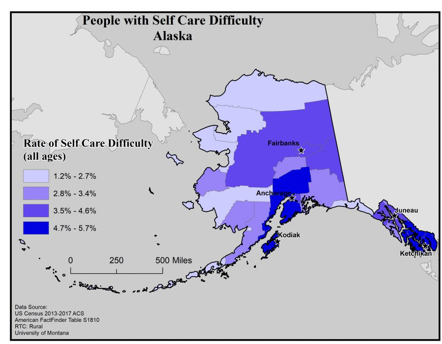 Map of Alaska showing rates of people with self care difficulty by borough. See Alaska State Profile page for full text description.