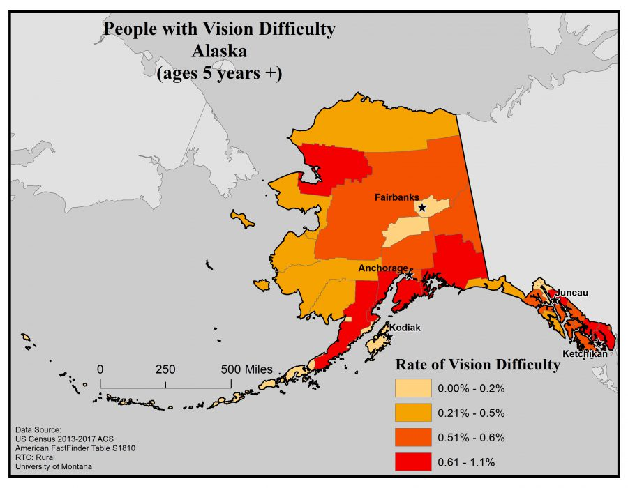 Map of Alaska showing rates of people with vision difficulty by borough. See Alaska State profile page for full text description.