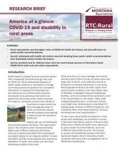 first page of America at a glance: COVID-19 and disability in rural areas research brief.