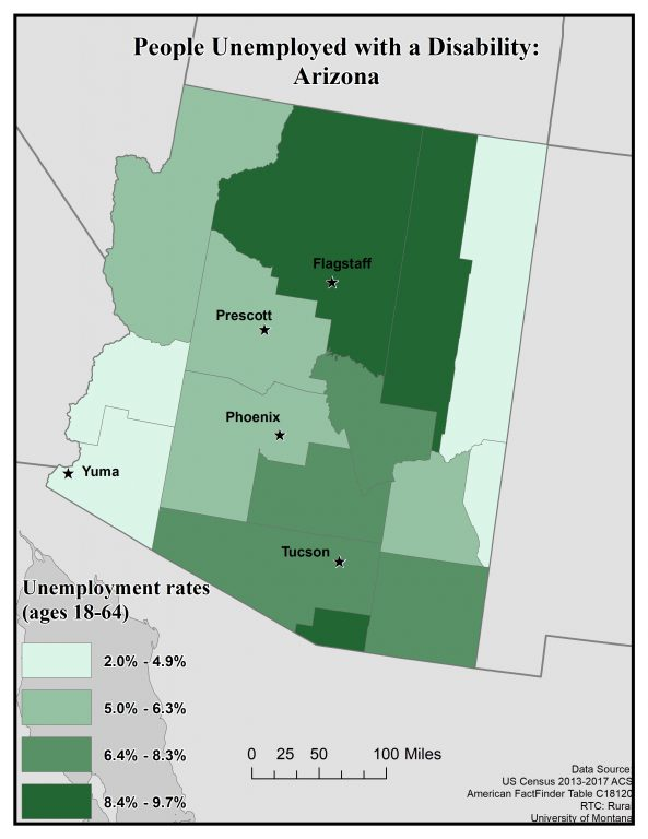 Map of Arizona showing rates of people unemployed with a disability by county. See page for full text description.