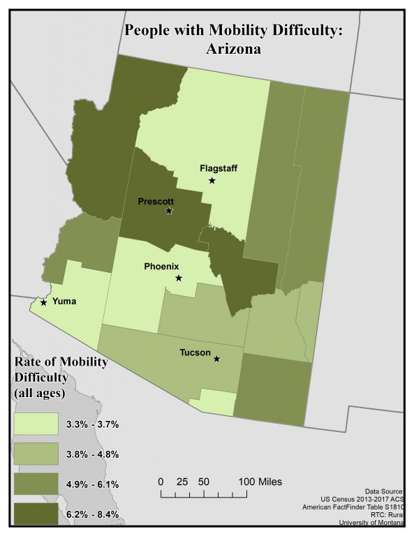 Map of Arizona showing rates of people with mobility difficulty by county. See page for full text description.