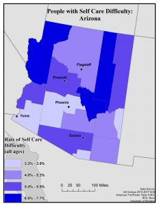Map of Arizona showing rates of people with self care difficulty by county. See page for full text description.