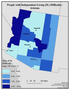 Map of Arizona showing rates of people with IL difficulty. See page for full text description.
