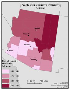 This map of Arizona shows rates of people with cognitive difficulty by county. See page for full text description.