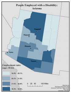 Map of Arizona showing rates of people employed with a disability by county. See page for full text description.