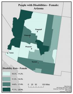 Map of Arizona showing disability rates of females by county. See page for full text description.