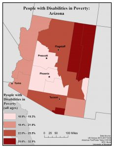 Map of Arizona showing disability rates among veterans by county. See page for full text description.