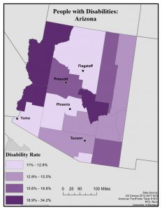 Map of Arizona showing disability rates by county. See page for full text description.