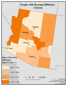Map of Arizona showing rates of people with hearing difficulty by county. See page for full text description.