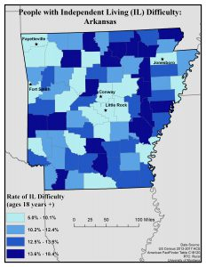 Map of Arkansas showing rates of independent living difficulty by county. See Arkansas State Profile for full text description.