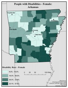 Map of Arkansas showing disability rates among females by county. See Arkansas State Profile page for full text description.