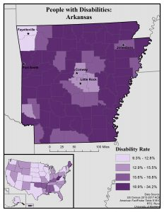 Map of Arkansas showing disability rates by county. See page for full text description.