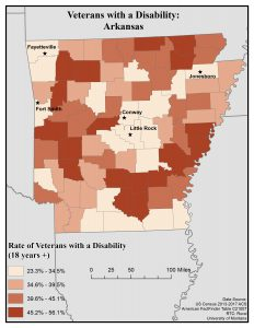 Map of Arkansas showing rates of veterans with a disability by county. See Arkansas State Profile page for full text description.