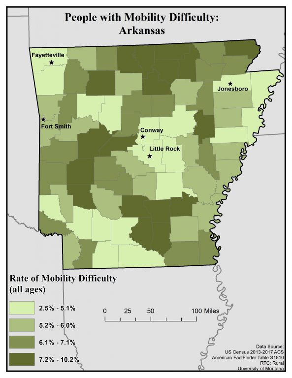 Map of Arkansas showing rates of mobility difficulty by county. Full text description on Arkansas State Profile page.