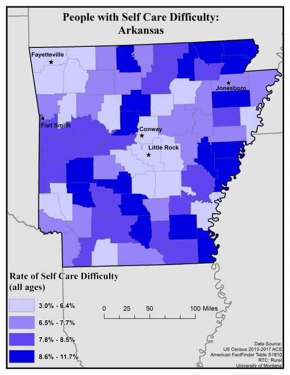 Map of Arkansas showing rates of self care difficulty by county. Full text description on Arkansas State Profile Page.