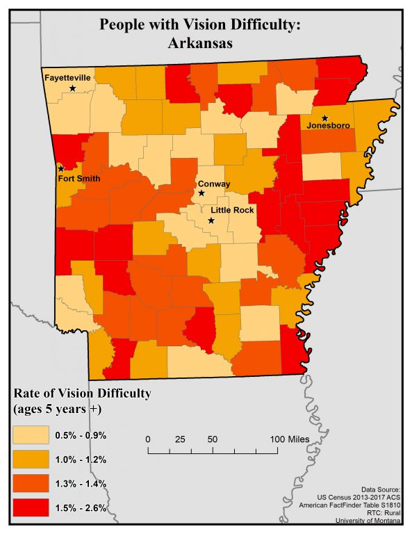 Map of Arkansas showing rates of vision difficulty by county. See Arkansas State Profile page for full text description.
